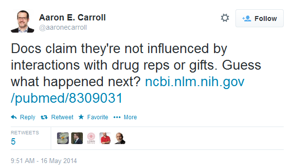 Docs claim they're not influenced by interactions with drug reps or gifts. Guess what happened next?