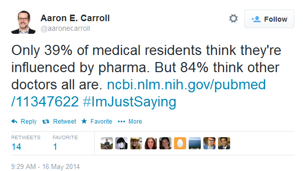 Only 39% of medical residents think they're influenced by pharma. But 84% think other doctors all are.