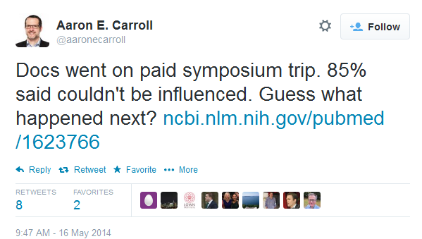 Docs went on paid symposium trip. 85% said couldn't be influenced. Guess what happened next?